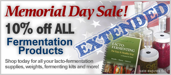 Memorial Day Sale 10% Off Fermentation Products