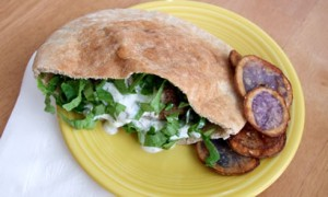 Lamb-Burger Gyros with Yogurt Sauce (Tzatziki)