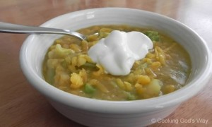 Curried Yellow Split Pea & Vegetable Soup *