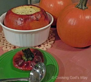 "Pumpkin-Apple & Chicken Soup ""Baked"" in a Pumpkin"