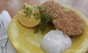 Salmon Cakes with Lemon-Pepper Dipping Sauce *
